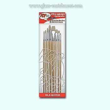 Set van 8 witte varkenshaar penselen