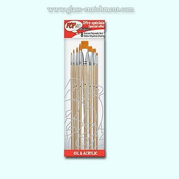 Set van 8 amber polyamide penselen