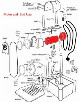 Mit Motor gemonteerder Endkappe und Schnur